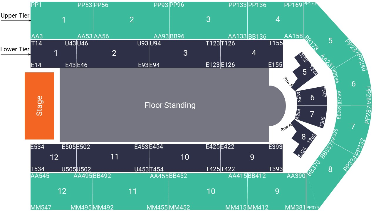 Utilita Arena Birmingham Seating Map – Floor Standing Layout
