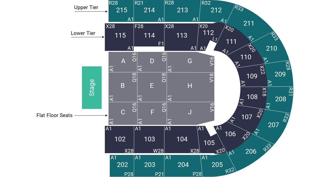 Manchester Arena Seating Map – Floor Seated Layout