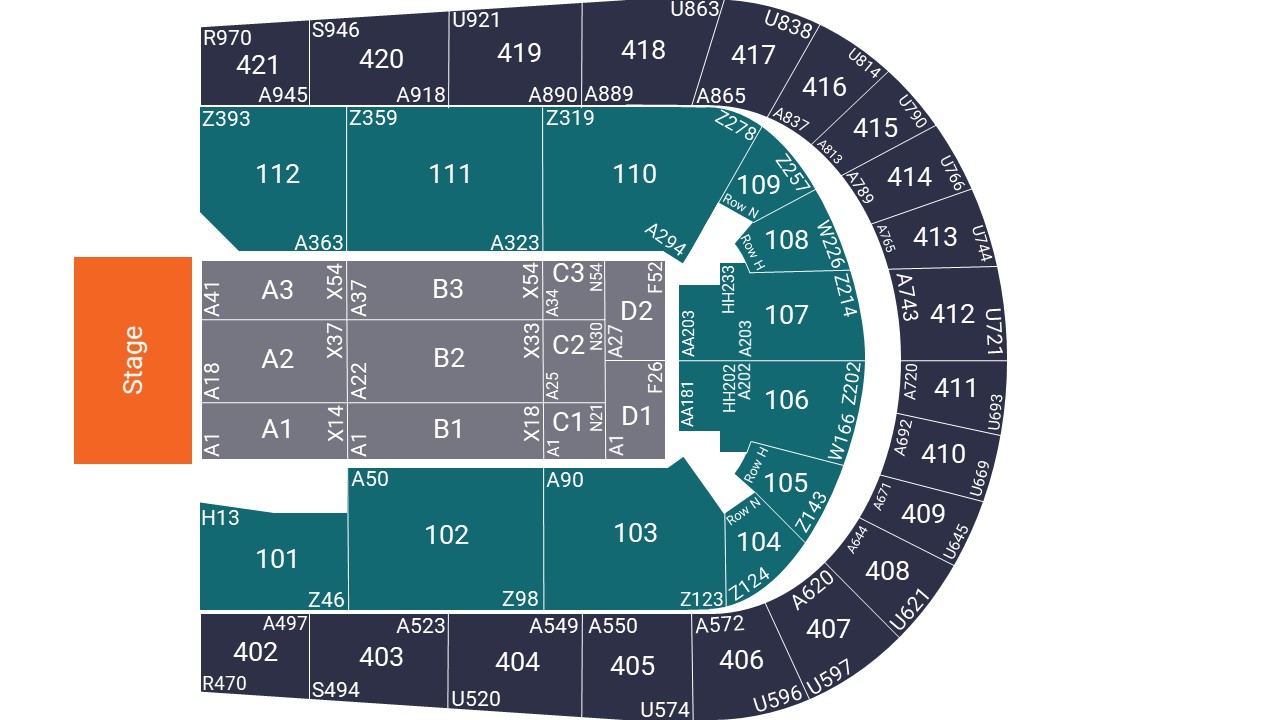 O2 Arena Seating Map – Floor Seated Layout