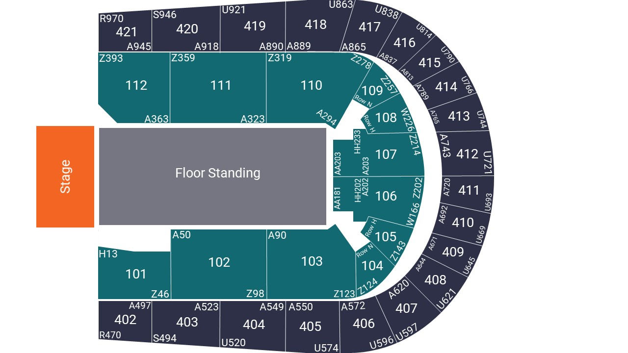 O2 Arena Seating Map – Floor Standing Layout