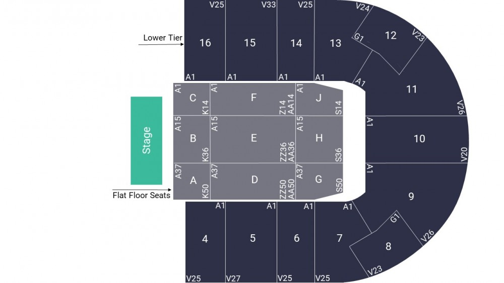 Nottingham Motorpoint Arena Seating Map – All Seated Layout