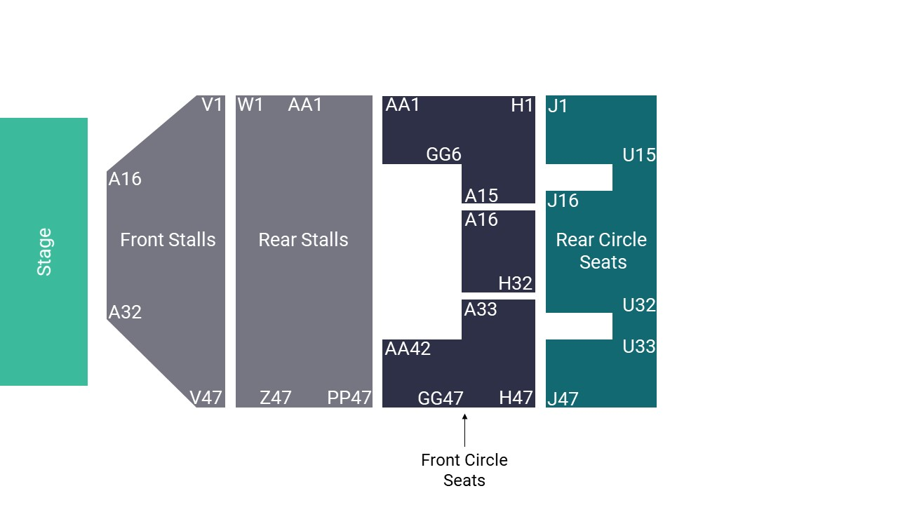 O2 Apollo Manchester Seating Map – Stalls Seated Layout
