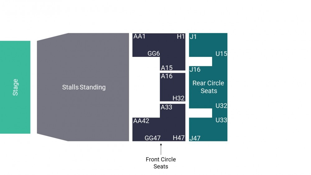 O2 Apollo Manchester Seating Map – Stalls Standing Layout