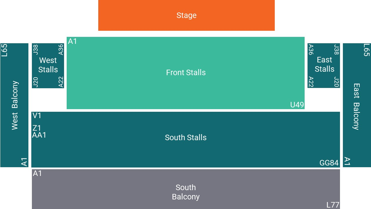 Brighton Centre Seating Map – Front Stalls Seated Layout