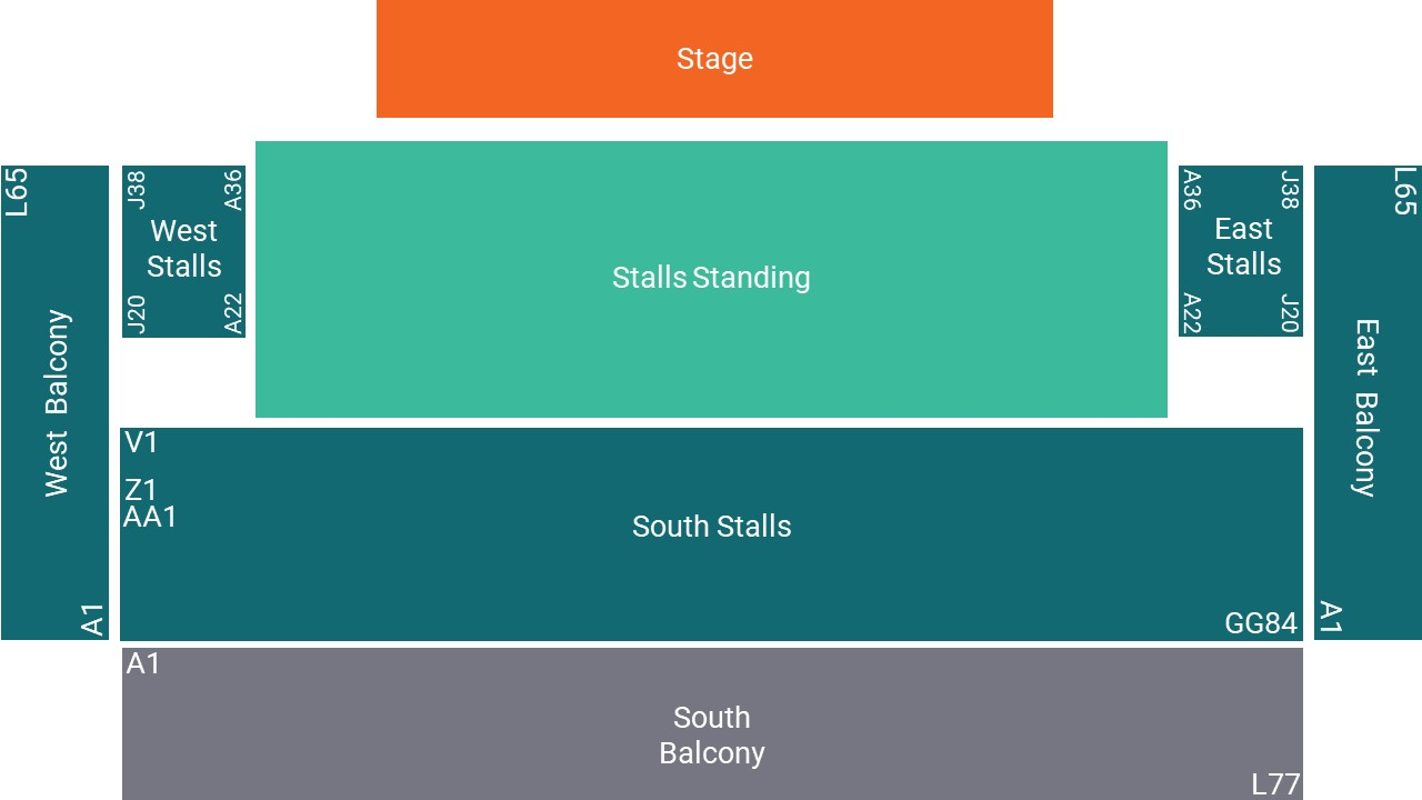 Brighton Centre Seating Map – Stalls Standing Layout
