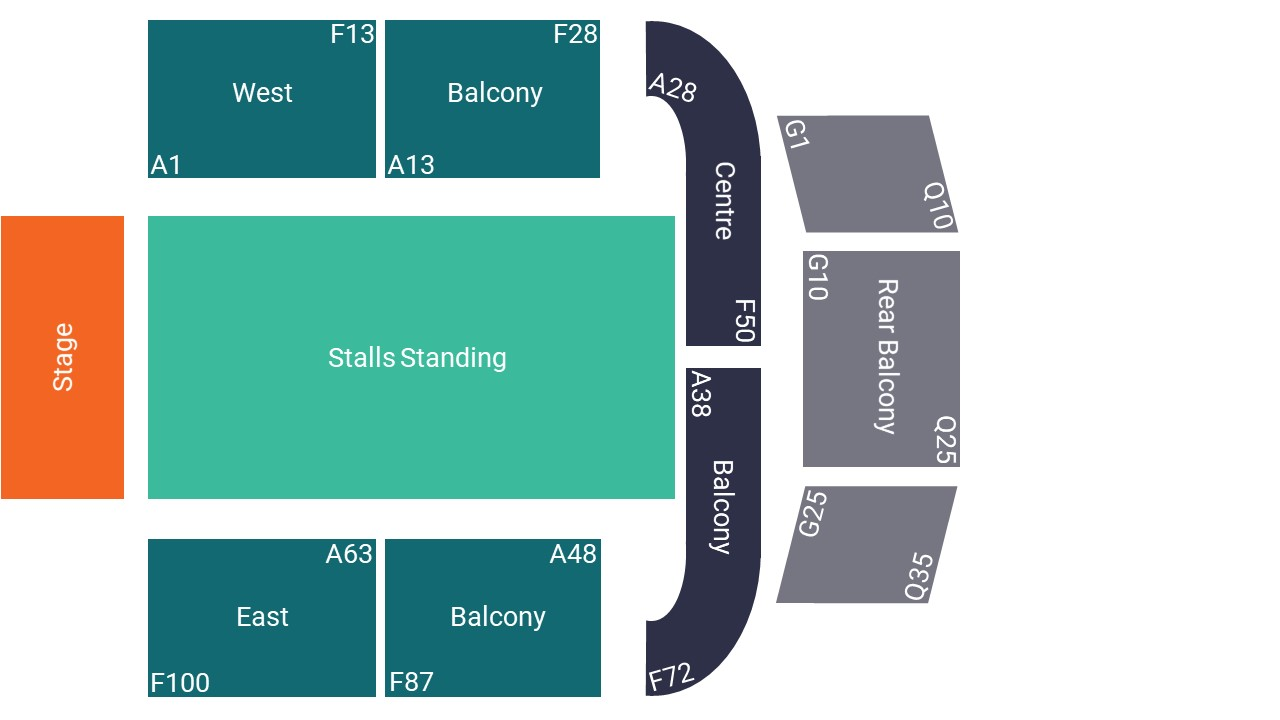 O2 City Hall Newcastle Seating Map – Stalls Standing Layout