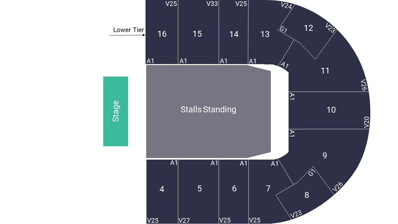 Nottingham Motorpoint Arena Seating Map – Floor Standing Layout
