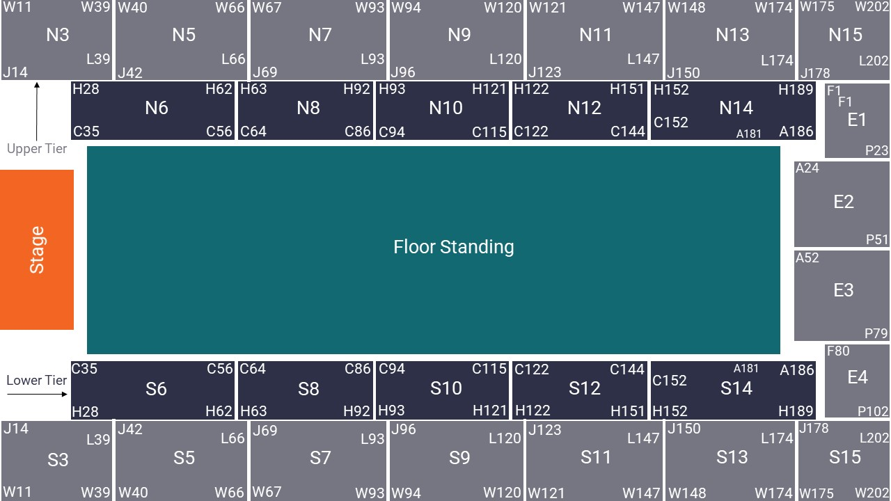 Wembley Arena Seating Map – Floor Standing Layout