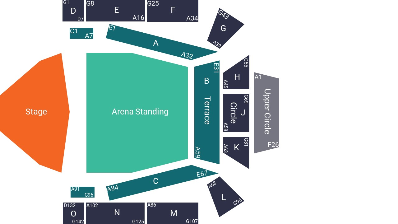 Glasgow Royal Concert Hall Seating Map – Arena Standing Layout