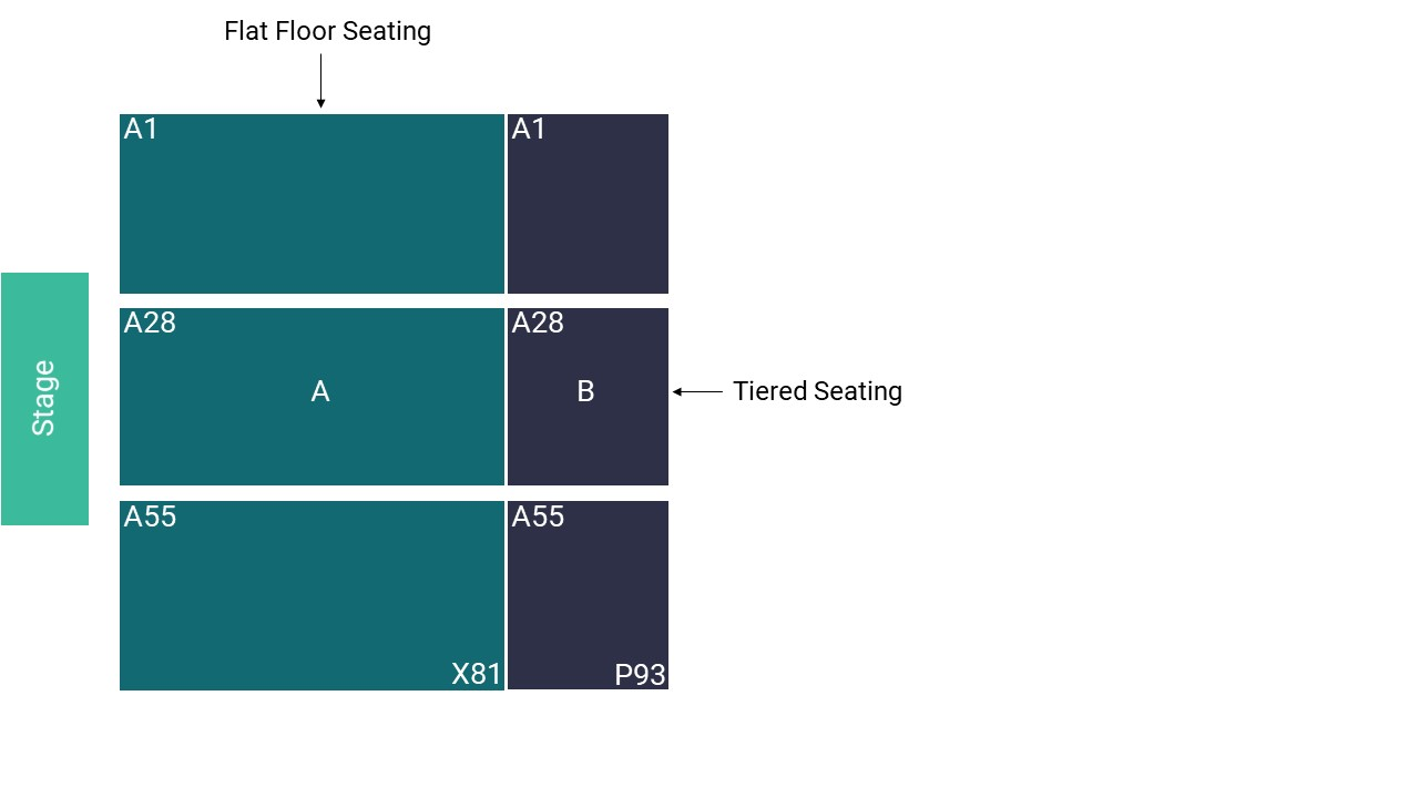 East of England Arena Seating Map – Small All Seated Layout