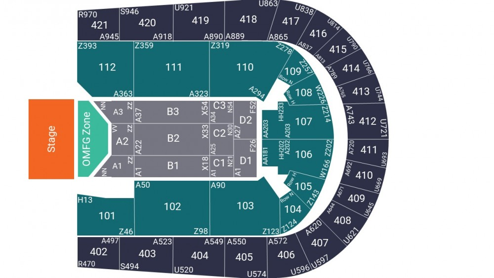 O2 Arena Seating Map – OMFG Pit Zone Layout