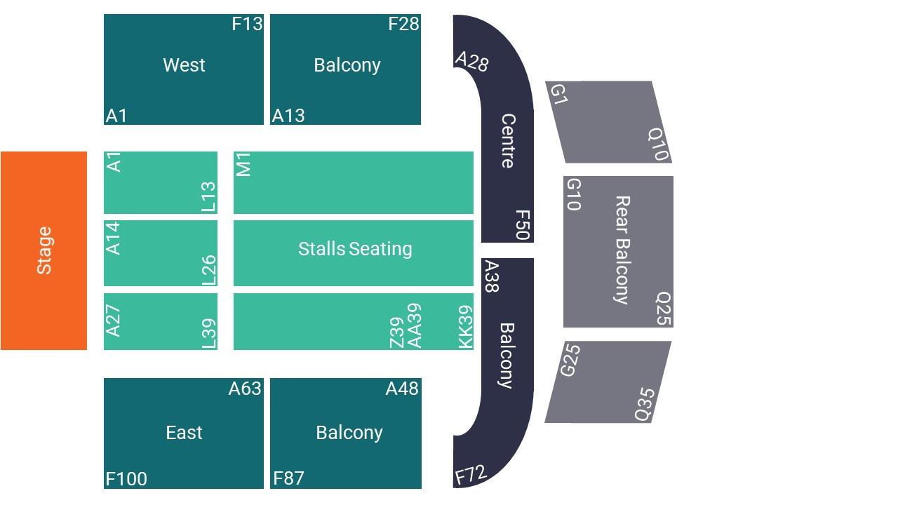 O2 City Hall Newcastle Seating Map – Stalls Seated Layout