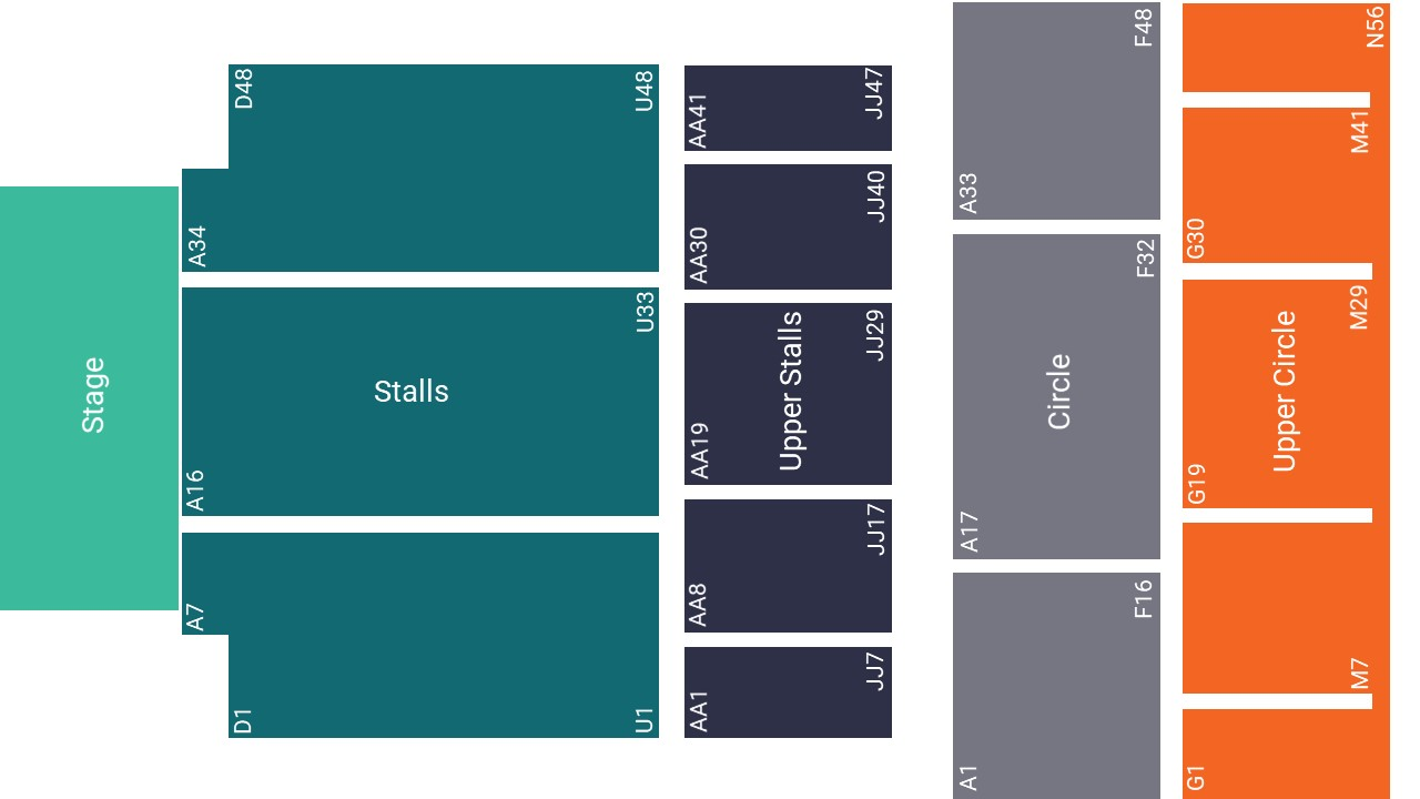 Portsmouth Guildhall Seating Map – Stalls Seated Layout
