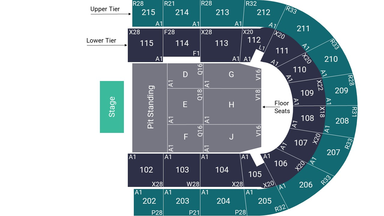 Manchester Arena Pit Standing Map