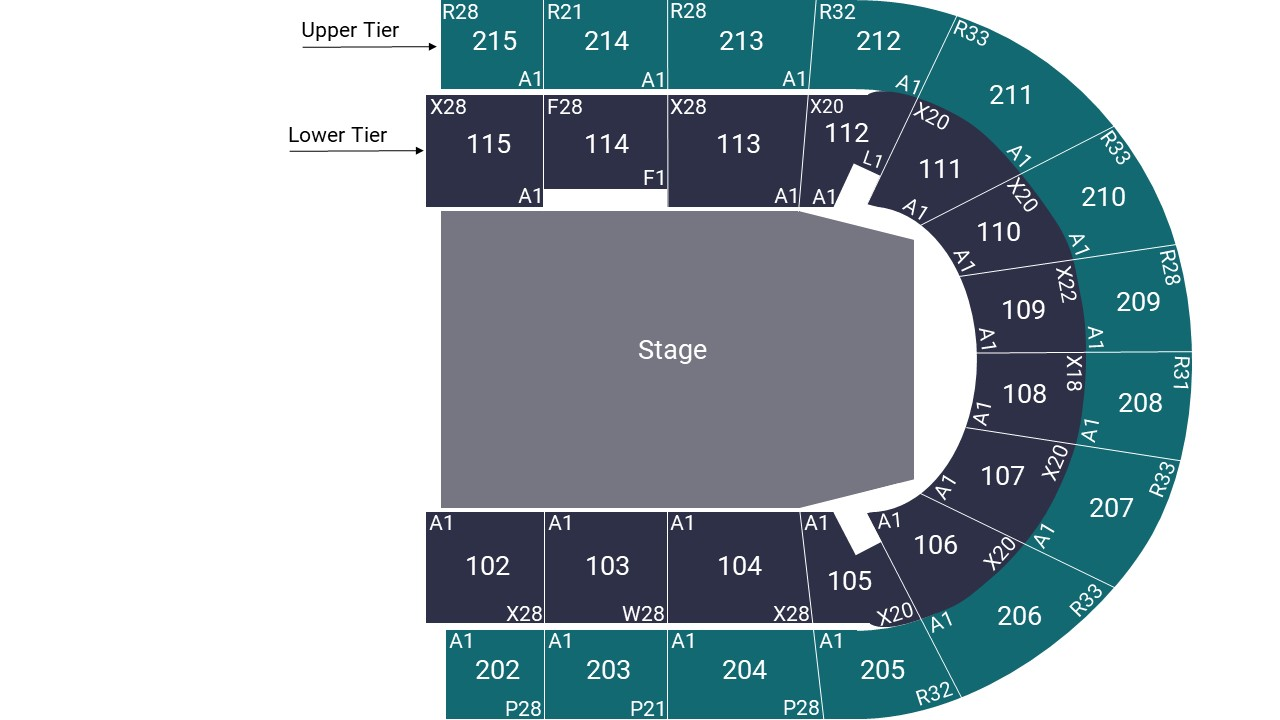Manchester Arena Seating Map – Stage Middle