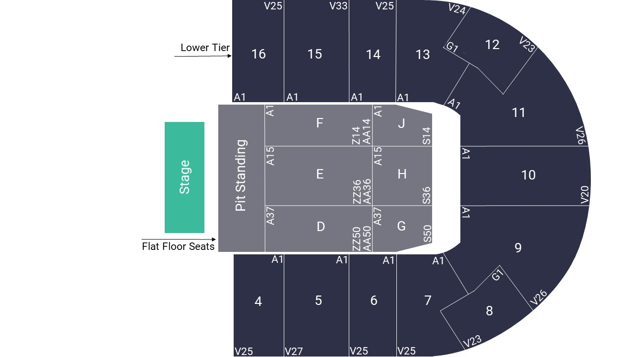 Nottingham Motorpoint Arena Seating Map – Pit Standing Layout
